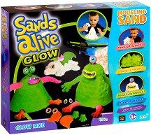 """Магически светещ пясък за моделиране - Чудовища - Творчески комплект от серията """"Sands Alive"""" - играчка"""