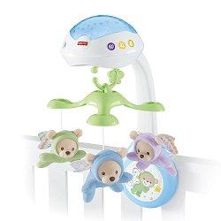 Музикална въртележка с проектор - Butterfly Dreams - Играчка за бебешко креватче с дистанционно управление -