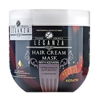 Leganza Hair Care Cream Mask with Keratin - Крем-маска за крехка, увредена и чувствителна коса - гел