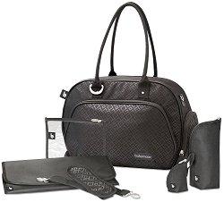 Чанта - Trendy Bag: Black - Аксесоар за детска количка с подложка за преповиване -