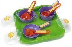 Детски кухненски съдове с поднос - Комплект от 10 части - играчка