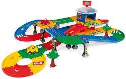 Писта - Mega Garage - Комплект с 3 колички - играчка