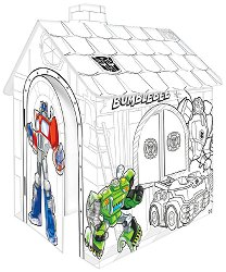 Детска сгъваема къщичка - Transformers - Картонен модел за оцветяване - играчка