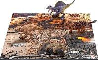 """Динозаври в зона от лава - Комплект от 4 мини фигури и пъзел от серията """"Праисторически животни"""" -"""