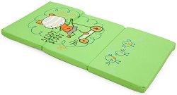 Зелен сгъваем матрак за бебешко креватче - Котенце - Размер 60 x 120 cm - продукт