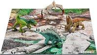 """Динозаври в джунглата - Комплект от 4 мини фигури и пъзел от серията """"Праисторически животни"""" -"""