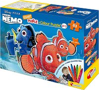 Търсенето на Немо - Двулицев пъзел с 6 цветни флумастера -