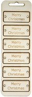 Табелки от шперплат - Merry Christmas - Комплект от 6 броя с размери 6 x 2.3 cm