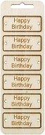 Табелки от шперплат - Happy Birthday - Комплект от 6 броя с размери 6 x 2.4 cm