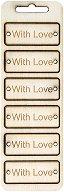 Табелки от шперплат - With Love - Комплект от 6 броя с размери 6 x 2.4 cm