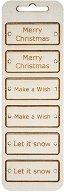 Табелки от шперплат - Коледни пожелания - Комплект от 6 броя с размери 6 x 2.3 cm