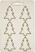 Фигурки от шперплат - Елхички - Комплект от 6 броя с размери 3.3 x 4 cm