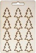 Фигурки от шперплат - Елхички - Комплект от 12 броя с размери 2.3 x 2.7 cm