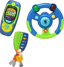 Мобилен телефон, волан и ключове - Детска музикална играчка - творчески комплект