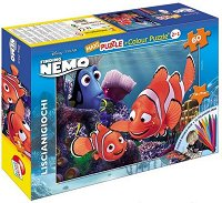 Търсенето на Немо - Двулицев пъзел с 16 цветни флумастера - пъзел