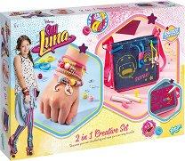 """Създай сама - Декорация за чанта и гривни в стила на Луна - Творчески комплект 2 в 1 от серията """"Soy Luna"""" - детски аксесоар"""