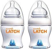 Бебешки шишета за хранене - Latch: 125 ml - Комплект от 2 броя със силиконов биберон за бебета от 0+ месеца -