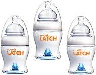Бебешки шишета за хранене - Latch: 125 ml - Комплект от 3 броя със силиконов биберон за бебета от 0+ месеца -