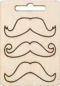 Фигурки от шперплат - Мустаци - Комплект от 3 броя