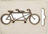 Фигурка от шперплат - Велосипед за двама - Предмет за декориране с размери 8 x 3 cm