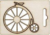 Фигурка от шперплат - Ретро велосипед - Предмет за декориране с размери 7 x 6.2 cm