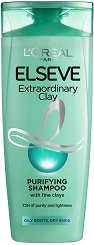 Elseve Extraordinary Clay Purifying Shampoo - Шампоан за мазни корени и сухи краища с 3 вида глина - сапун