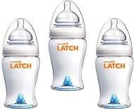 Бебешки шишета за хранене - Latch: 240 ml - Комплект от 3 броя със силиконов биберон за бебета от 0+ месеца -