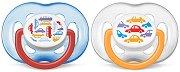 Залъгалки от силикон с ортодонтична форма - Cars - Комплект 2 броя за бебета от 6 до 18 месеца -