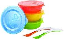 Купички за хранене с капачета - Комплект от 4 броя с 2 лъжици за бебета над 6 месеца - купичка