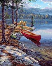 Рисуване по номера - Лодка край реката - Комплект за картина с размери 22 x 30 cm
