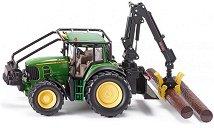 """Трактор с кран и лебедка - John Deere 7530 - Метална играчка от серията """"Farmer: Forestry"""" -"""