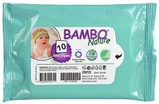 Bambo Nature Wet Wipes - Бебешки мокри кърпички без аромат в опаковки от 10, 50 и 80 броя - шампоан