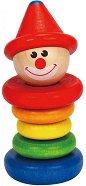 Весел клоун - Детска дървена дрънкалка -
