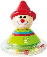 Весел клоун - Ралф - Детска дървена дрънкалка -
