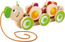 Гъсеница - Дървена играчка за дърпане -