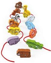 Животните в джунглата - Дървени фигури за нанизване - продукт