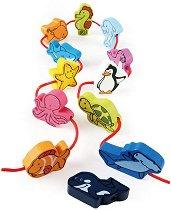 Морски свят - Дървени фигури за нанизване - играчка