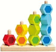 Цветове, форми и числа - Oбразователна играчка за нанизване от дърво - играчка