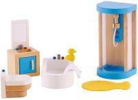 Мебели за баня - Дървено обзавеждане за куклена къща -