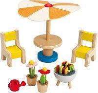 Мебели за тераса - Дървено обзавеждане за куклена къща -