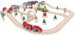 Железопътна линия - Дървена играчка с аксесоари -