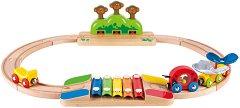 Шарено влакче с релси - Детска дървена играчка -
