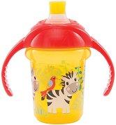 """Неразливаща се преходна чаша с дръжки - Зебра: 207 ml - За бебета над 6 месеца от серията """"Click Lock"""" -"""
