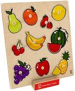 Плодове - Детски дървен пъзел с дръжки - пъзел