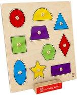 Цветни форми - Детски дървен пъзел с дръжки - пъзел