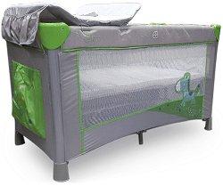 Сгъваемо бебешко легло на две нива - Zebra: Green - Комплект с подложка за преповиване -
