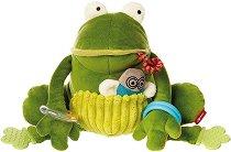 Жабка - Плюшена играчка с дъвкалка и дрънкалка -