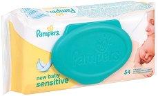 Pampers Sensitive Wet Wipes - Бебешки мокри кърпички в опаковка от 54 броя - мокри кърпички