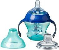 Неразливаща се чаша с дръжки - Explora 150 ml - Комплект със силиконов биберон и мек накрайник за бебета от 4 до 7 месеца - шише