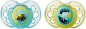 """Флуоресцентни залъгалки от силикон с ортодонтична форма - Night Time - Комплект от 2 броя за бебета от 18 до 36 месеца от серията """"Closer to Nature"""" - продукт"""